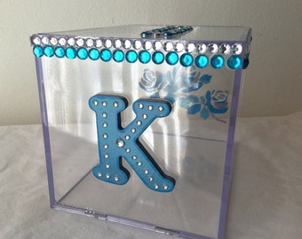 Hand Painted Clear Ice Wedding Card Box