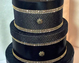 Diamond and Pearls Collection. Black Gold  Diamond  3 Tier Bling Wedding Card Box Bridal Gift Money Card Box