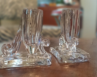 Beautiful Vintage  Clear Glass Art Deco Candlesticks/ Great for Christmas