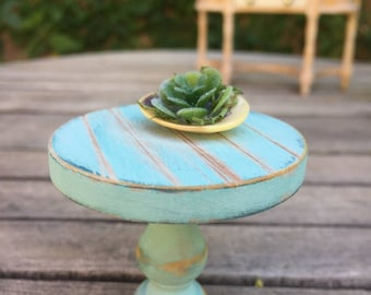 Miniature side table, blue dollhouse table, beach miniature