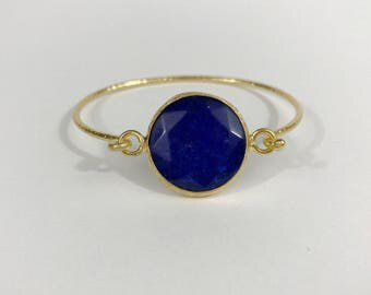 Blue chalcedony Hammered bangle