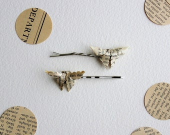 Pair of Origami Butterfly Bobby Pins (Vintage Music Magazine Paper)