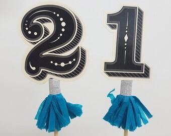 21st Birthday Paper Cake Topper - Birthday Cake Decoration