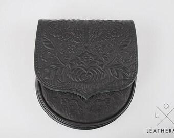 Black purse, small crossbody purse, embossed lether, mini purse, black bag, leather bag, tooled leather, small crossbody bag, shoulder bag