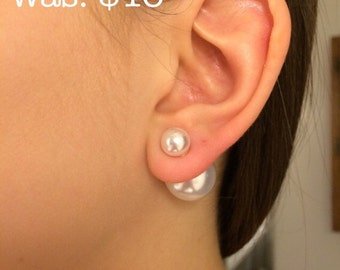 Double Ball Earrings / Dior Style Double Pearl Earrings / White Pearl Earrings / Dior Earrings / BEST SELLER