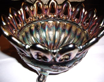 Northwood Footed Carnival Glass Bowl