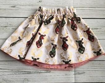 Girls Christmas Tartan Deer Skirt Outfit, My First Plaid Christmas Baby Bodysuit or Shirt, Complete Baby Christmas Outfit, Lined Skirt