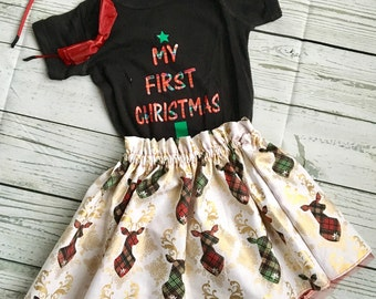 Complete Christmas Outfit, Plaid Deer, My First Christmas Bodysuit with Ruffle Top Chiffon Lined Skirt, can be Personalized