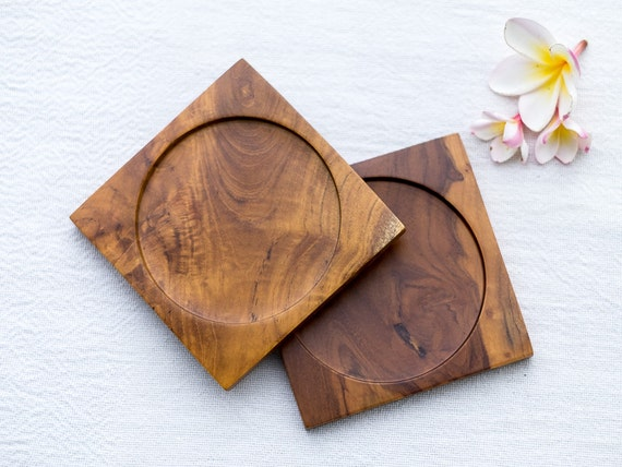 Set of 2 handmade wooden coasters square wooden coasters for Handmade drink coasters