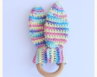 Wooden Baby Teething Ring~Baby Gifts~Crochet Bunny Ears Teether~Crochet&Wood Baby Teether~Eco Baby Teether~Wood Teether~Montessori Baby Toys