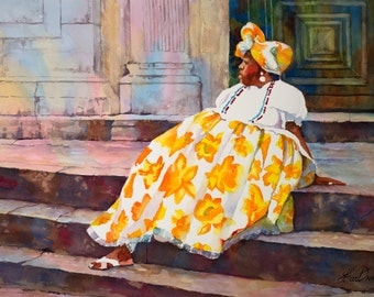 Black Art, Woman in Yellow Dress, Watercolor Painting, Watercolor Print, Bahian Woman, Brazil, African Art
