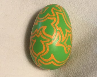 SALE hand painted green and yellow wooden egg