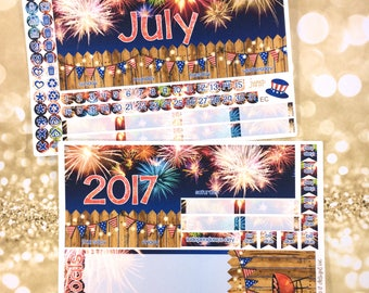 July 4th Fourth Fireworks monthly view spread -for Happy Planner & Erin Condren Vertical Horizontal Planners sticker- fire works summer