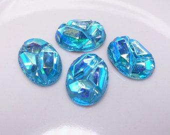 Vintage Aurora Borealis stones, faceted top, foiled flat back, oval 8x13 mm - 2 pcs - A51