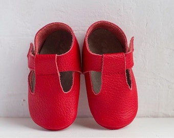 T-Strap Red Sandals, Baby Sandals, leather sandales, baby leather sandales