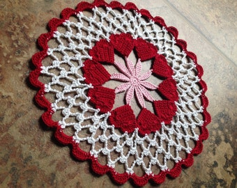 valentine red hearts motif doily,handmade crochet lace home decor housewarming doily