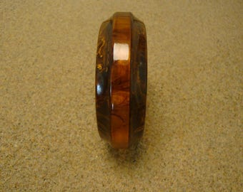 Vintage Laminated Bakelite Bracelet; Sculpted Concave Edges; Marbled Colors!