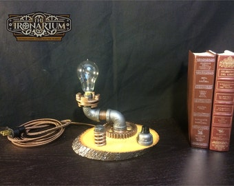 1027- Steampunk Lamp - Industrial Pipe Lamp - Vintage Edison Bulb - Steampunk Light - Pipe Lamp - Industrial Light - Steam Punk - Desk Lamp