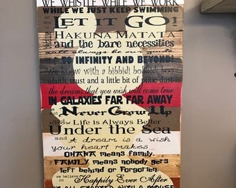 Disney Quotes We do Disney Planked Wood Disney Family Rules Red and Brown