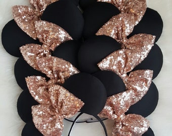 Black and Rose gold Disney Ears