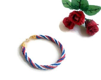 Patriotic Bracelet-American Flag Bracelet-USA Bracelet-Red White And Blue Jewelry-Patriotic Jewelry-4th of July Jewelry-Veteran Gift-Anklet