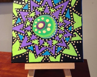 Mini canvas Mandala Painting with easel