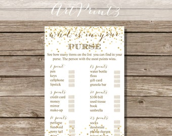 What's In Your Purse Bridal Shower Game, Gold Confetti Bridal Shower Games Printable, Bridal Shower Party Game Printable, Funny Bridal Game