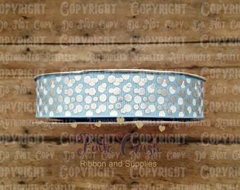 "7/8"" USDR Silver Foil and White Ink Mini Dots on Light Blue Grosgrain Ribbon / Ribbon for bows / Ribbon by the yard"