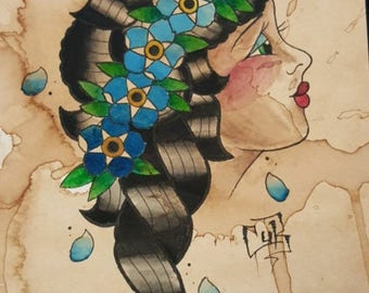 Flowers in Her Hair Print