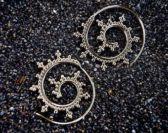 "Boho Spiral Earrings ""Delicate Curl"" Brass"