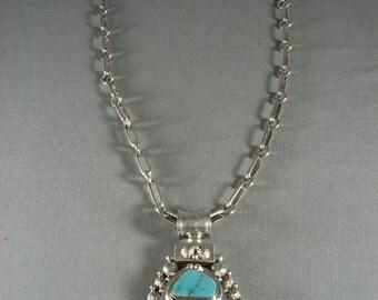Rare Modernistic Navajo Turquoise Sterling Silver Ben Begaye Necklace