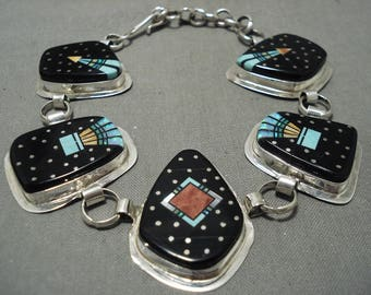 Mind Boggling 'Night Time Space' Turquoise Onux Silver Bracelet