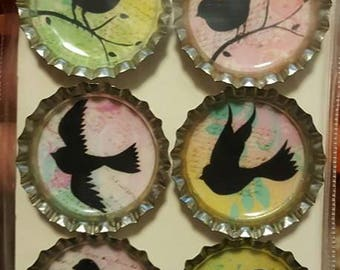 Colorful Bird Silhouette Bottle Cap Magnets