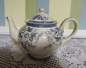 Antique Reflections teapot little teapot VINTAGE floral VTG Collectible flower BlueTea Pot