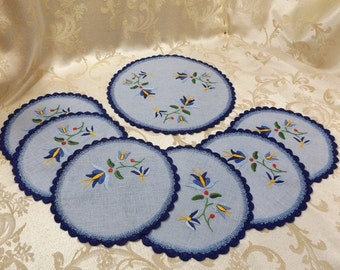 Vintage Embroidery & Crochet on Linen 7pc Doily Table Set Luncheon, Coasters Round Floral Blue Dolies