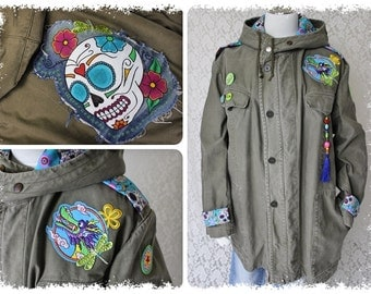 "POP parka ""Skull"" XL/5 Chinese Dragon death mask skull Bundeswehr parka"