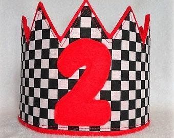 Birthday Crown, Boys Birthday Hat, Felt Birthday Crown, Cars Birthday Crown, Kids Birthday Crown, Race Car Birthday Crown, Birthday Hat
