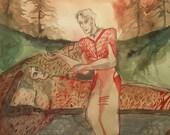 The Sleeper Awakes Original Painting Surreal Art Surrealist Surrealism Science Fiction Sleep Sleeping Man H P Lovecraft H.G. Wells Distopian