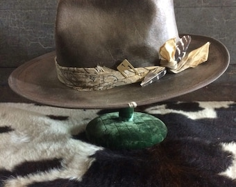 Brown aged and distressed fedora medium brim custom made hat one of a kind hat