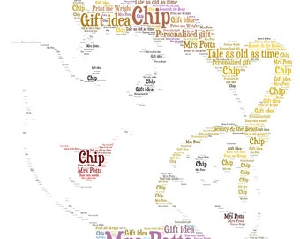 Personalised Word Art Beauty And The Beast Inspired Mrs Potts Chip Digital Image Unique Gift