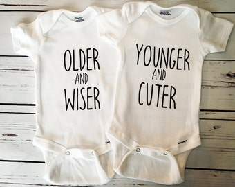 Twin Onesies, Twin Bodysuits, Older and Wiser & Younger and Cuter Twin Outfits, Gift For Twins, Set of 2 Bodysuits, Baby Shower Gift, Twins