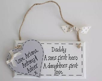 """Personalised Fathers Day Plaque """"Daughters first love & Son hero"""" Dad Daddy Gift"""