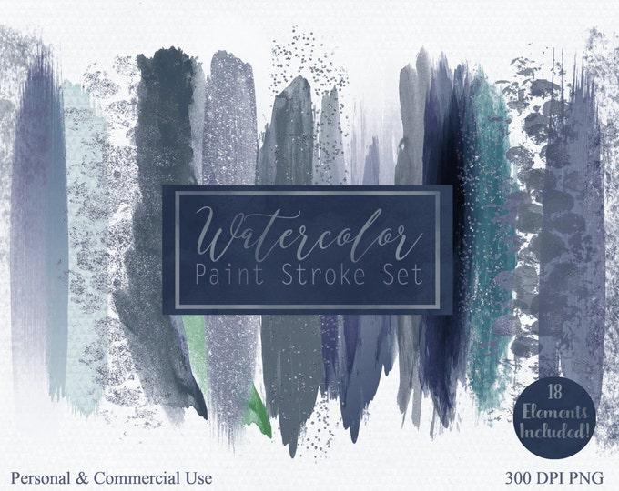 WATERCOLOR BRUSH STROKES Clipart Commercial Use Clipart 18 Watercolor Paint Splash Aqua Teal Gray Confetti Watercolor Texture Logo Clip Art