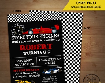 Race car birthday invitation racing cars auto racing party chalkboard invite Instant Download YOU EDIT TEXT and print yourself invite 5596