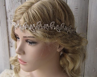 Wedding Headband/ Bridal Headpiece, Rhinestones hairband, pearl and rhinestones headpiece, wedding accessories