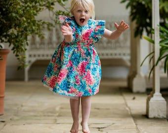 Spring wedding, summer wedding, spring Flower girl, summer flower girl, flower girl liberty dress, couture dress, floral dress, age 5 dress