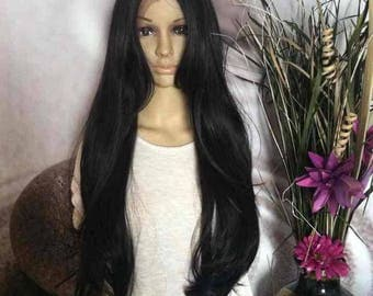Black human hair blend lace font wig 28'' straight.. Also Avail in other colors