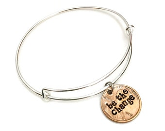 Be The Change Charm Bracelet | metal stamped | inspire | bronze | gifts for her under 20 | jewellry statement jewelry | bangle | adjustable