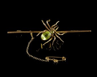 Antique Victorian Spider Brooch Set Wtih Peridot