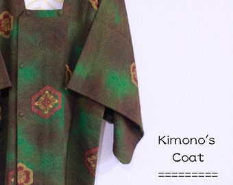 Coat.Brown, dark green flower pattern
